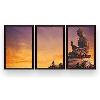 Quadro Decorativo Buda 3P 124x60 Sala Quarto