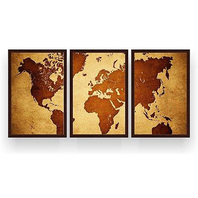 Quadro Decorativo Mapa Mundi Globo 3P 124x60 Sala Quarto
