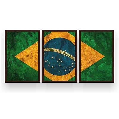 Quadro Decorativo Bandeira Do Brasil 3P 124x60 Sala Quarto