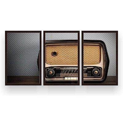 Quadro Decorativo Rádio 3P 124x60 Sala Quarto