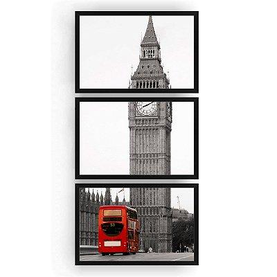 Quadro Decorativo Big Ben Ônibus 3PV 60x124 Sala Quarto