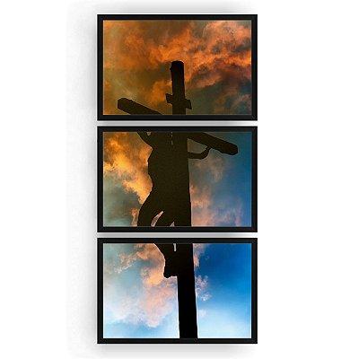 Quadro Decorativo A Crucificação 3PV 60x124 Sala Quarto
