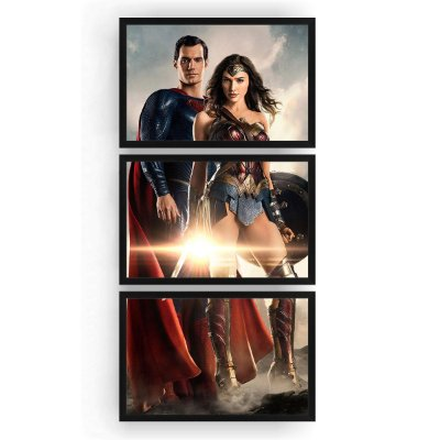 Quadro Decorativo Superman Mulher Maravilha 3PV 60x124 Sala Quarto
