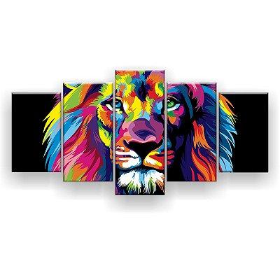 Quadro Decorativo Leão Color Print 129x61 5pc Sala