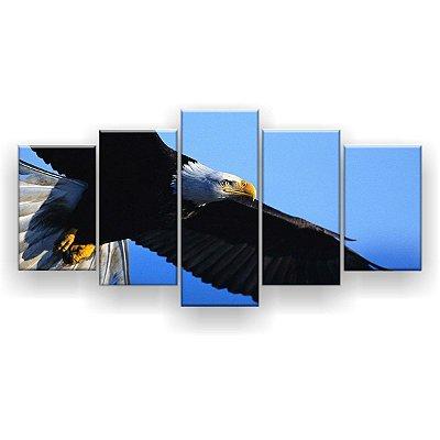 Quadro Decorativo Águia Voando 129x61 5pc Sala
