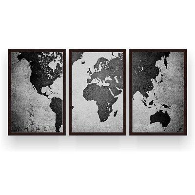 Quadro Decorativo Mapa Mundi Preto Branco 3P 124x60 Sala Quarto