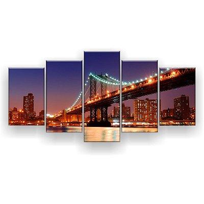 Quadro Decorativo Ponte De Manhattan 129x61 5pc Sala