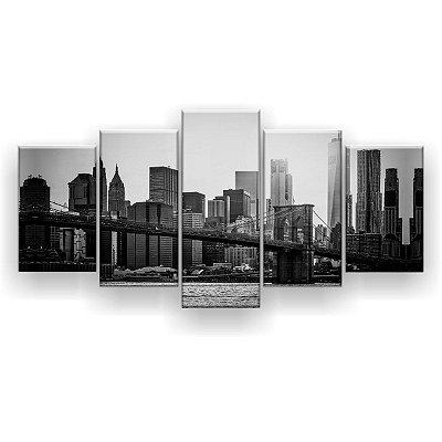 Quadro Decorativo Brooklyn Nova Iorque 129x61 5pc Sala