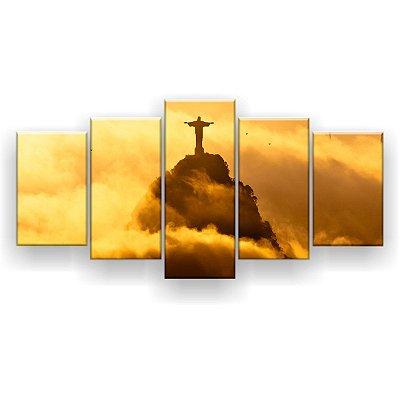 Quadro Decorativo Rio De Janeiro Cristo Redentor 129x61 5pc Sala