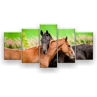 Quadro Decorativo Cavalos No Campo 129x61 Quarto Sala