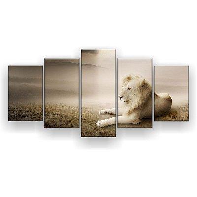 Quadro Decorativo Leão Albino 129x61 Quarto Sala