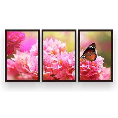 Quadro Decorativo Borboleta Flores Rosa 3P 124x60 Sala Quarto