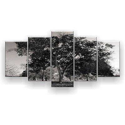 Quadro Decorativo Árvore Grande Preta 129x61 5pc Sala