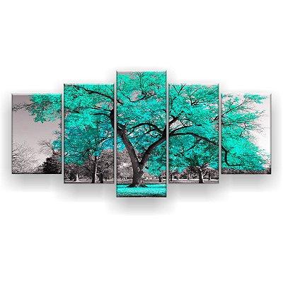 Quadro Decorativo Árvore Grande Tiffany 129x61 5pc Sala