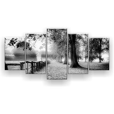 Quadro Decorativo Árvores Folhagem Preto E Branco 129x61 5pc Sala