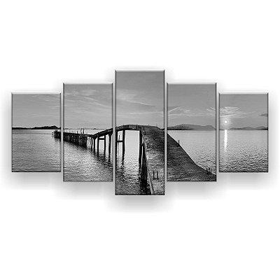 Quadro Decorativo Caminho No Mar Preto E Branco 129x61 5pc Sala