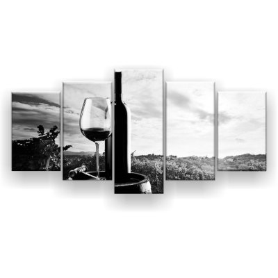 Quadro Decorativo Vinho Preto E Branco 129x61 5pc Sala