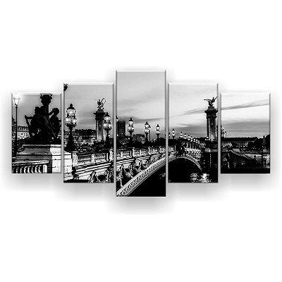Quadro Decorativo Canal Paris Preto E Branco 129x61 5pc Sala