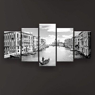 Quadro Decorativo Canal De Veneza Preto E Branco 129x61 5pc Sala