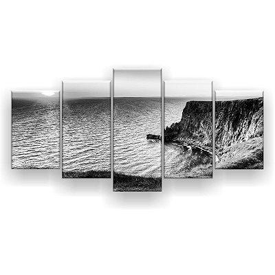 Quadro Decorativo Falésias De Moher Preto E Branco 129x61 5pc Sala