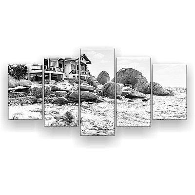 Quadro Decorativo Ilha De Koh Tao Preto E Branco 129x61 5pc Sala