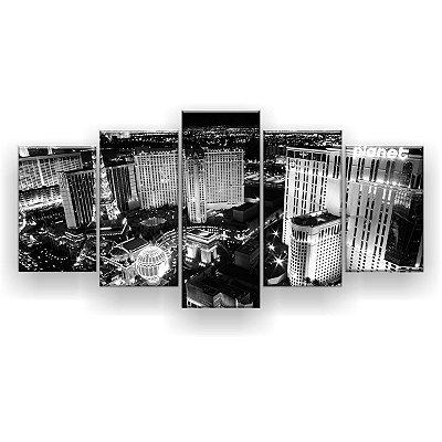 Quadro Decorativo Las Vegas Preto E Branco 129x61 5pc Sala