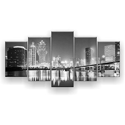 Quadro Decorativo Macau China Preto E Branco 129x61 5pc Sala