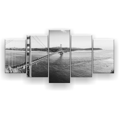 Quadro Decorativo Panorama Golden Gate Preto E Branco 129x61 5pc Sala