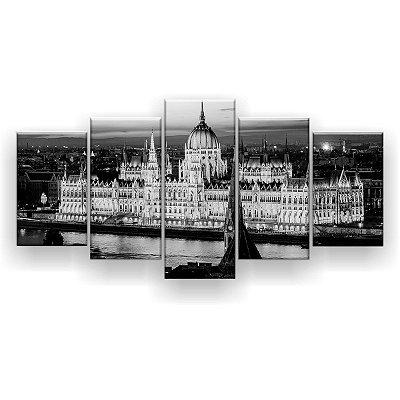 Quadro Decorativo Parlamento Da Hungria Preto E Branco 129x61 5pc Sala