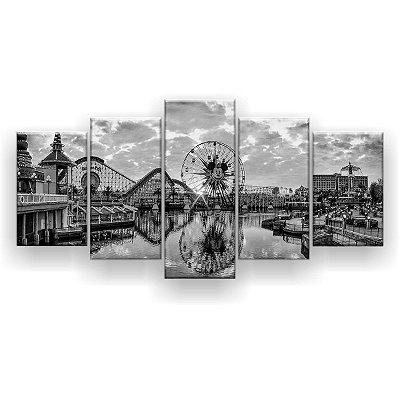 Quadro Decorativo Parque Disney Preto E Branco 129x61 5pc Sala