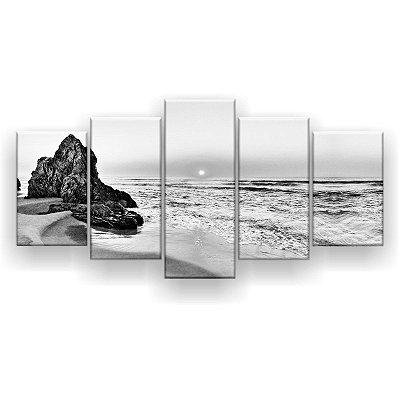 Quadro Decorativo Pedras De Tathra Preto E Branco 129x61 5pc Sala