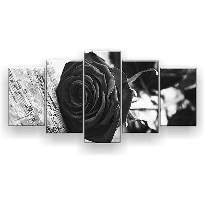 Quadro Decorativo Rosa Notas Musicais Preto E Branco 129x61 5pc Sala