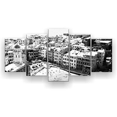 Quadro Decorativo Salerno Itália Preto E Branco 129x61 5pc Sala