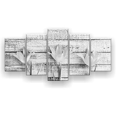 Quadro Decorativo Três Tulipas Preto E Branco 129x61 5pc Sala