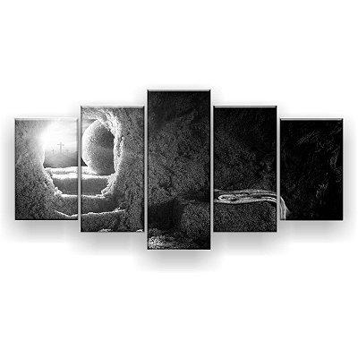Quadro Decorativo Túmulo Vazio Preto E Branco 129x61 5pc Sala