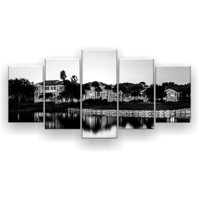 Quadro Decorativo Vilarejo Disney Preto E Branco 129x61 5pc Sala