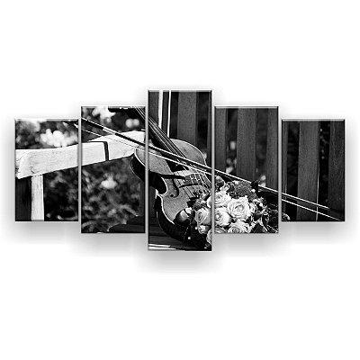 Quadro Decorativo Violino Buquê Rosas Preto E Branco 129x61 5pc Sala