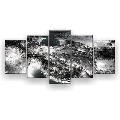 Quadro Decorativo Vista Panorâmica Preto E Branco 129x61 5pc Sala