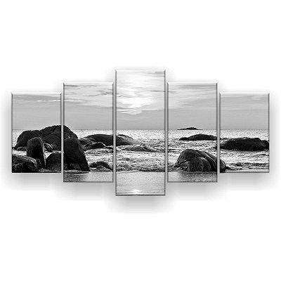 Quadro Decorativo Pedras No Mar Preto E Branco 129x61 5pc Sala
