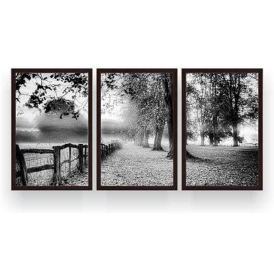 Quadro Decorativo Árvores Folhagem 3P 124x60 Sala Quarto