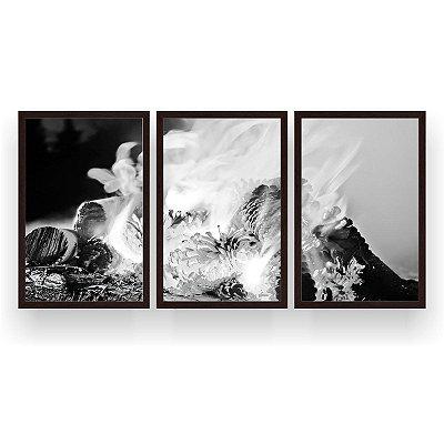 Quadro Decorativo Fogueira Branco E Preto 3P 124x60 Sala Quarto