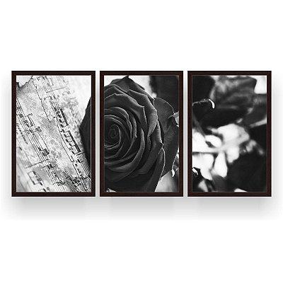 Quadro Decorativo Rosa Notas Musicais Branco E Preto 3P 124x60 Sala Quarto