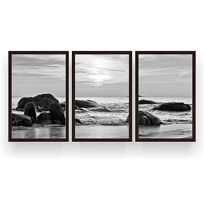 Quadro Decorativo Pedras No Mar Branco E Preto 124x60 Sala Quarto