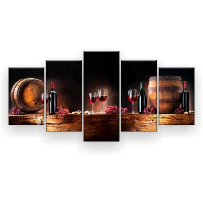 Quadro Decorativo Vinho Uvas 129x61 5pc Sala