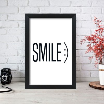 Quadro Decorativo Smile Preto Branco 33x22 Sala Quarto