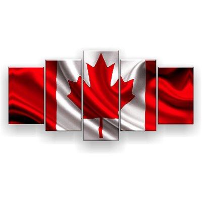 Quadro Decorativo Bandeira Do Canadá 129x61 5pc Sala