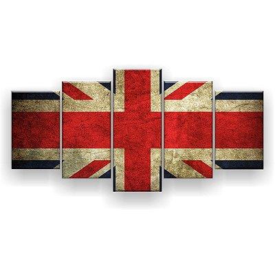 Quadro Decorativo Bandeira Da Inglaterra 129x61 5pc Sala
