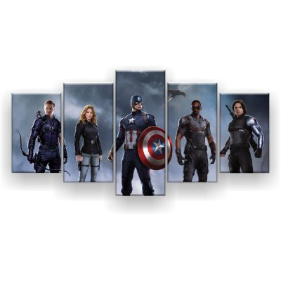 Quadro Decorativo Pose Vingadores 129x61 5pc Sala