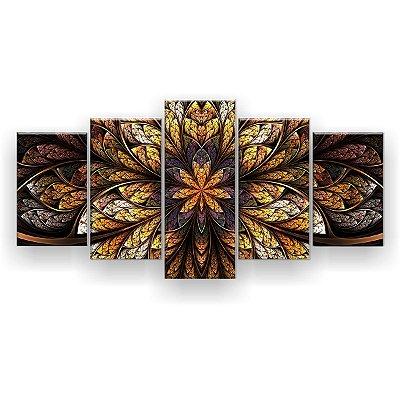 Quadro Decorativo Flor Simétrica 129x61 5pc Sala