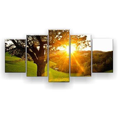 Quadro Decorativo Campo Árvore Sol 129x61 5pc Sala